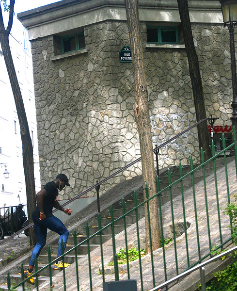 This fellow is power-running up the steep stairs