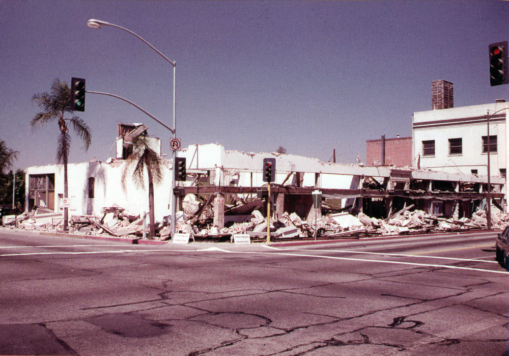 Description of . This October 1975 photo of the remains of the Otis Block at the corner of .Orange St. and Citrus Ave. The site became part of the south parking lot for the Redlands mall. City of Redlands Collection