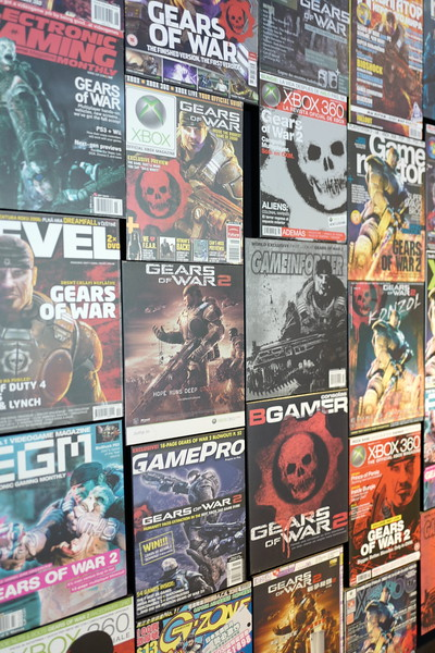Old magazine covers at Epic Games office