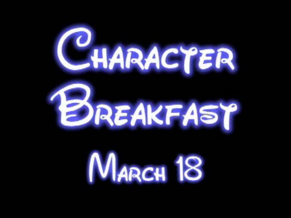 Character Breakfast March 18