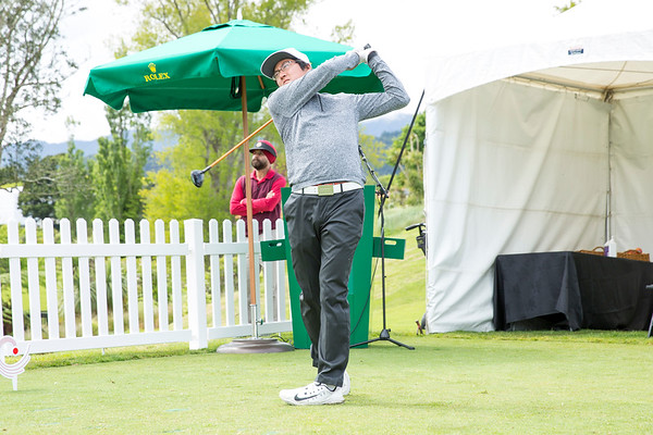 Lee Won-jun from Korea hitting off the 1st tee on Day 1 of competition in the Asia-Pacific Amateur Championship tournament 2017 held at Royal Wellington Golf Club, in Heretaunga, Upper Hutt, New Zealand from 26 - 29 October 2017. Copyright John Mathews 2017.   www.megasportmedia.co.nz