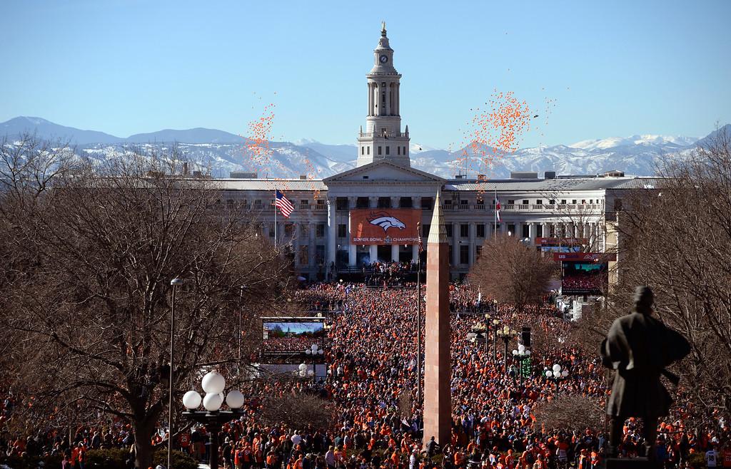 . DENVER, CO - February 09: Denver Broncos Super Bowl 50 celebration at Civic Center Park February 07, 2016. (Photo by Andy Cross/The Denver Post)