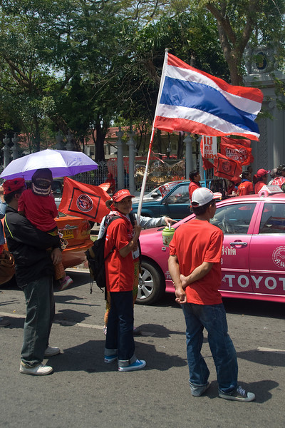 Protesters on the streets of Thailand during Red Shirt Protest