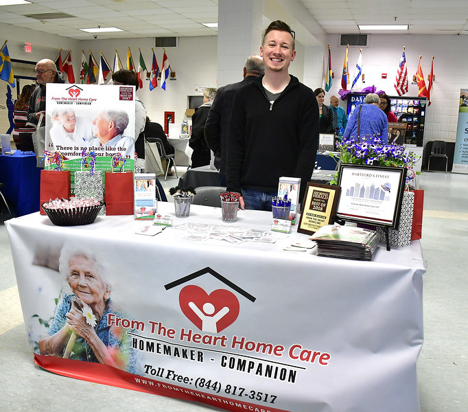 4/6/2019 Mike Orazzi   Staff From the Heart Home Care's David Karwowski during the 5th Annual Connecticut Prime Time Senior Fair Saturday at Bristol Eastern High School.