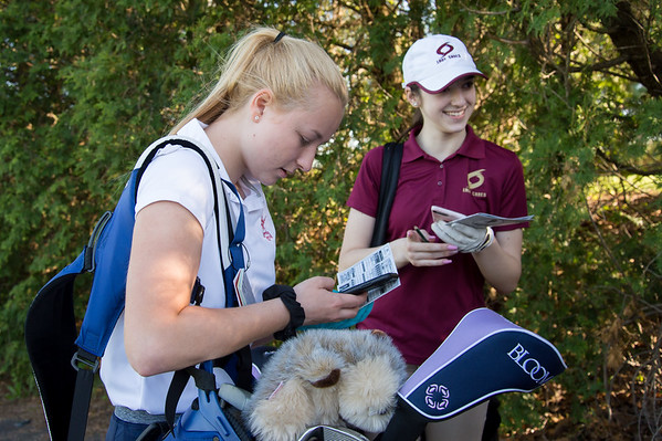 05/8/19 Wesley Bunnell | Staff Berlin girls golf defeated New Britain at Timberlin Golf Course on Wednesday afternoon. Berlin's Morgan Jones, L, and New Britain's Morgan Giantonio work on their score cards.
