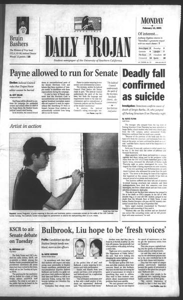 Daily Trojan, Vol. 142, No. 23, February 12, 2001
