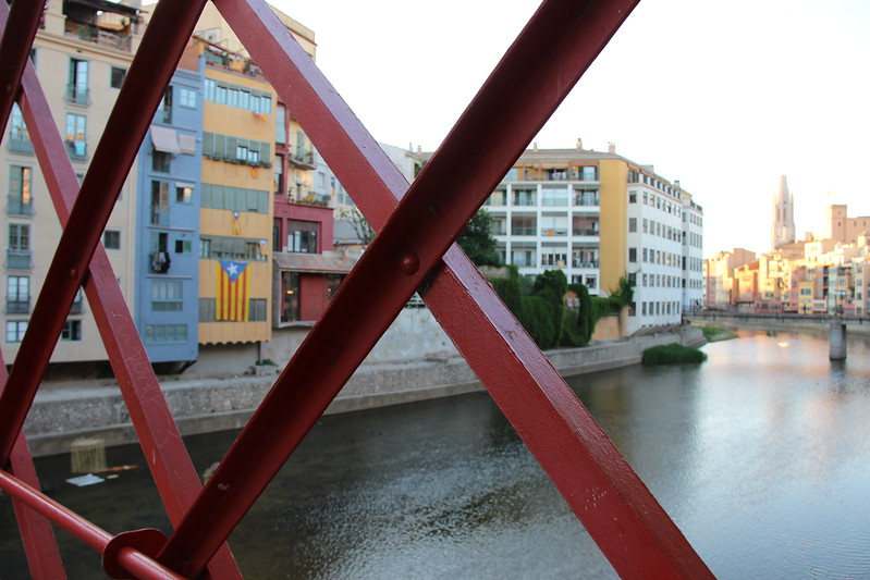 Red spans form the view from the Eiffel bridge in Girona.