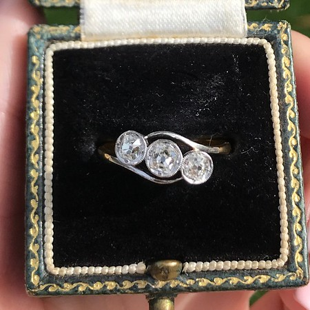 .80ctw Antique English 3-Stone Peruzzi Cut Diamond Ring
