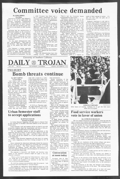 Daily Trojan, Vol. 62, No. 20, October 20, 1970