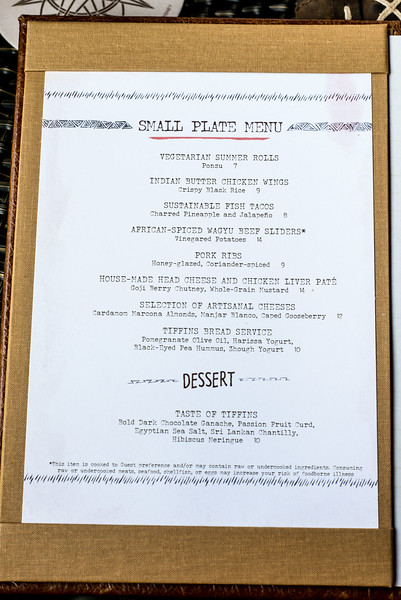 Nomad Lounge Small Plate Menu - Animal Kingdom Walt Disney World