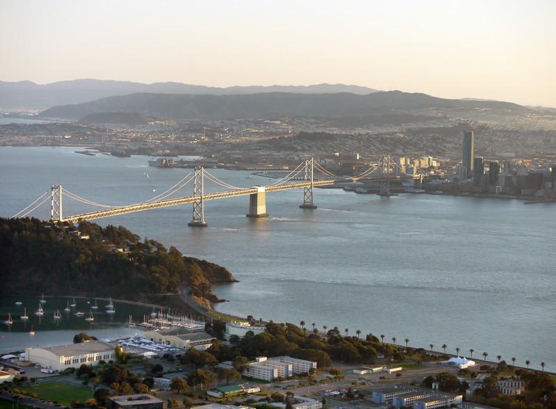 The Bay Bridge, seen from above Treasure Island.
