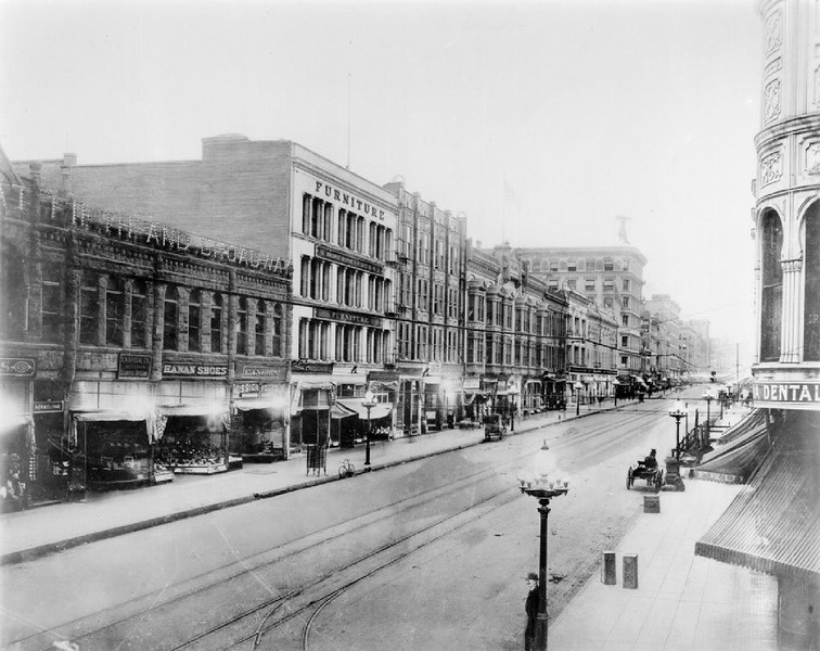 View of Broadway looking north from 5th Street, ca.1908