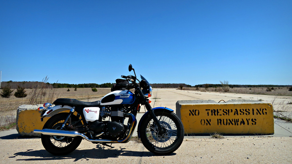 my triumph bonneville - a woman motorcycle rider