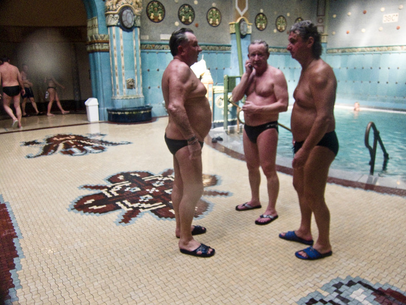 March , 2012, Budapest, Hungary - Men only bath at Gellert Spa  Budapest is known as the SPA Capital of the world.  Nearly 120 hot springs feed the city's historic thermal baths (Furdo) and approximately 70 million litres of water used every day.