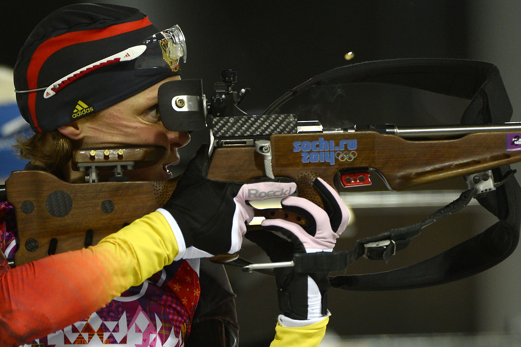 . Germany\'s Evi Sachenbacher-Stehle competes in the Women\'s Biathlon 12,5 km Mass Start at the Laura Cross-Country Ski and Biathlon Center during the Sochi Winter Olympics on February 17, 2014, in Rosa Kuthor, near Sochi.   AFP PHOTO / PIERRE-PHILIPPE MARCOU/AFP/Getty Images