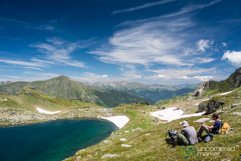 Picnic at Alpine Lake en route to Mt. Gjeravica, Kosovo