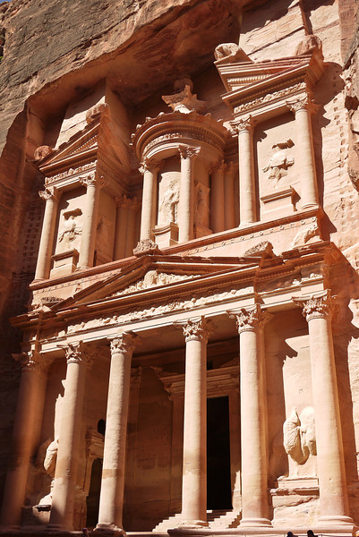 The tall treasury in the sunlight in Petra, Jordan.