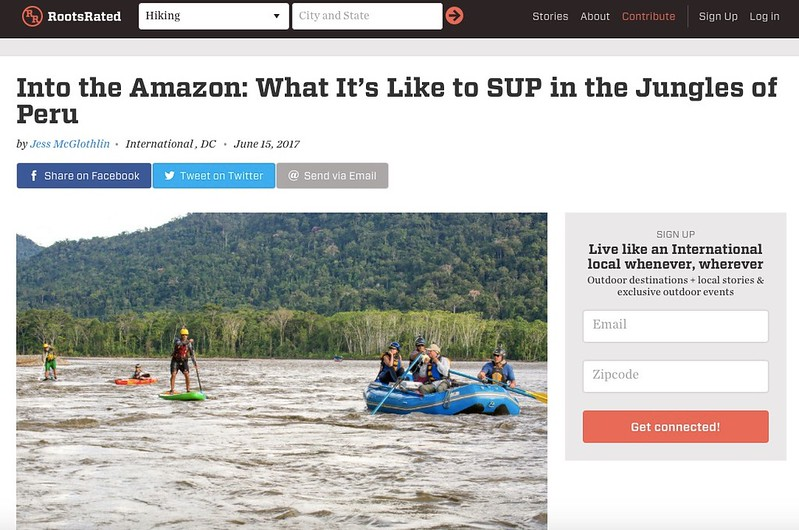 Feature story for RootsRated.  June 2017.  https://rootsrated.com/stories/into-the-amazon-what-it-s-like-to-sup-in-the-jungles-of-peru