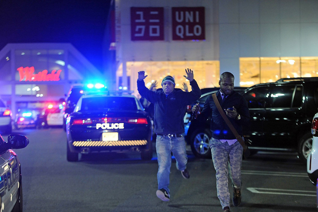 . Some customers and mall employees at Westfield Garden State Plaza mall were evacuated as police and SWAT teams descended on the area in Paramus, New Jersey, on Monday, November 4, 2013. (Tyson Trish/The Record/MCT)