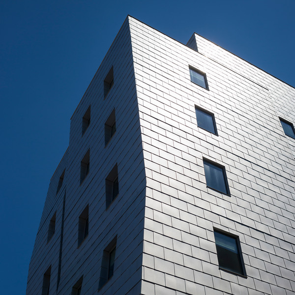 Low angle view of modern office building at Downtown Minneapolis, Hennepin County, Minnesota, USA