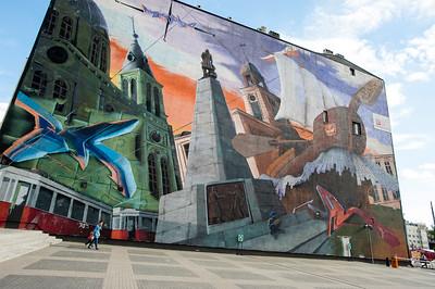 Wall mural near Piotrkowska Street, Lodz, Poland