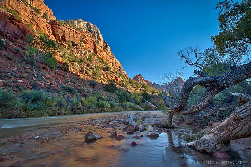Virgin River in autumn. Zion National Park.