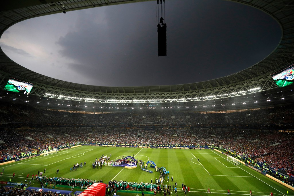 . A storm cloud passes over the stadium during the awards ceremony after final match between France and Croatia at the 2018 soccer World Cup in the Luzhniki Stadium in Moscow, Russia, Sunday, July 15, 2018. (AP Photo/Frank Augstein)