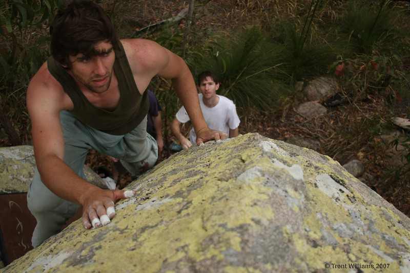 Andy looking concerned on the best climb at Harveys, Elegance (V0). Photo by Trent Williams