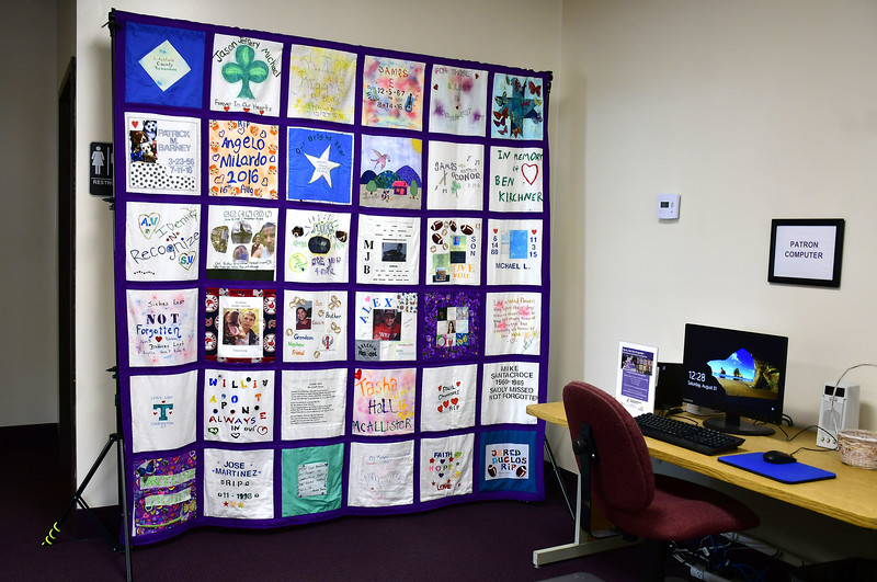 8/31/2019 Mike Orazzi   Staff One of the completed quilts on display during a Remembrance Quilt Square making event at Connecticut Clearinghouse on Farmington Avenue in Plainville on Saturday.