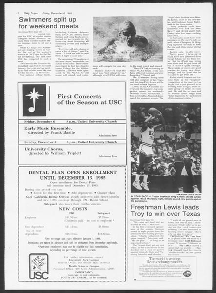 Daily Trojan, Vol. 100, No. 62, December 06, 1985