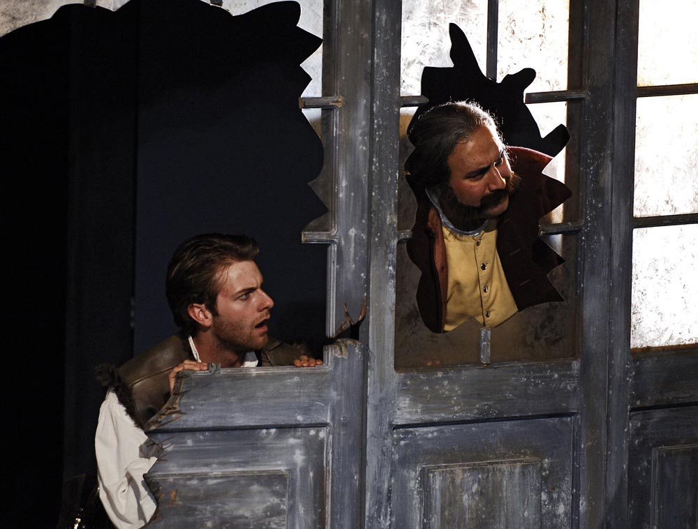 """. Daniel Kent as Fabian and Tommy A. Gomez as Sir Toby Belch in Shakespeare Santa Cruz\'s 2005 production of \""""Twelfth Night.\"""" (Photo courtesy of Steve DiBartolomeo.)"""