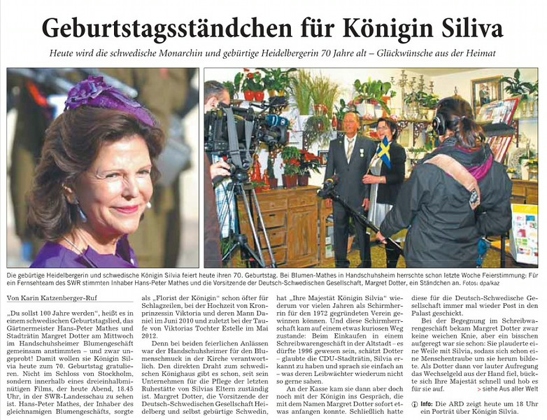 RNZ Artikel Blumen Mathes 70 Geburtstag Königin Silvia von Schweden