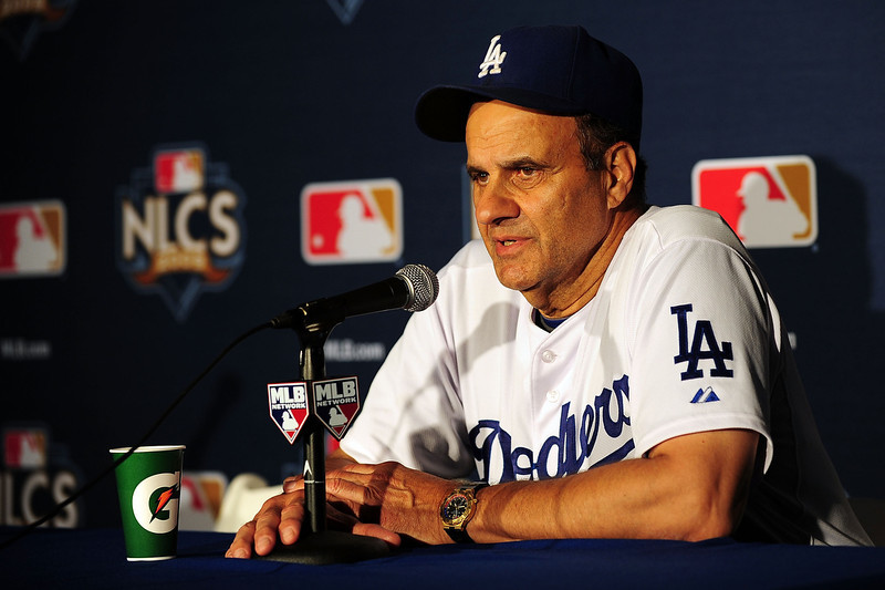 . Manager Joe Torre of the Los Angeles Dodgers talks to the media at the post game press conference after defeating the Philadelphia Phillies 2-1 in Game Two of the NLCS during the 2009 MLB Playoffs  at Dodger Stadium on October 16, 2009 in Los Angeles, California.  (Photo by Jacob de Golish/Getty Images)