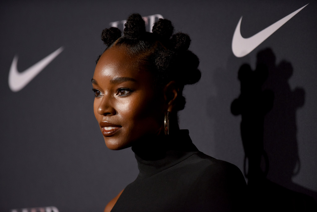 . Model Damaris Lewis attends a fashion show and awards ceremony held by the Harlem Fashion Row collective and Nike before the start of New York Fashion Week, Tuesday, Sept. 4, 2018. (AP Photo/Diane Bondareff)