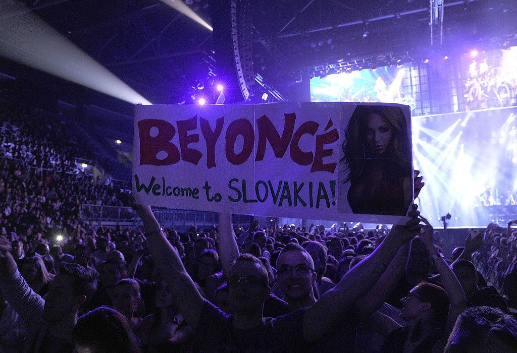 ". Fans attend the Beyonce ""Mrs. Carter Show World Tour 2013\"", on Friday, April 19, 2013 at the Slovnaft Arena in Bratislava, Slovakia. (Photo by Frank Micelotta/Invision for Parkwood Entertainment/AP Images)"