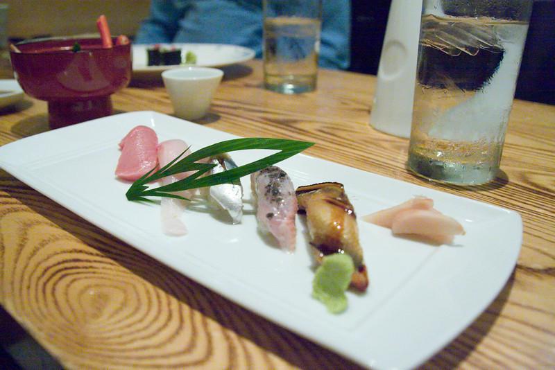 sushi - toro, yellowtail, mackerel, spanish mackerel, anago