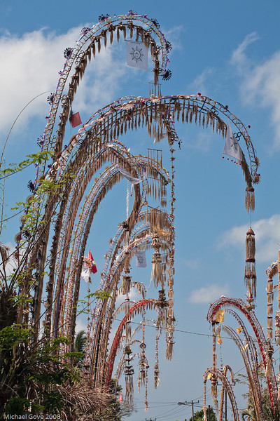 Village festival roadside decorations, Bali