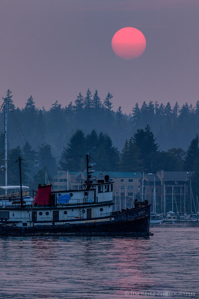 Smoky sunset, due to wildfires up north in BC.