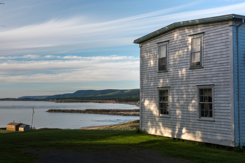 Houses at waterfront, Margaree River, Margaree Harbour, Cabot Trail, Cape Breton Island, Nova Scotia, Canada