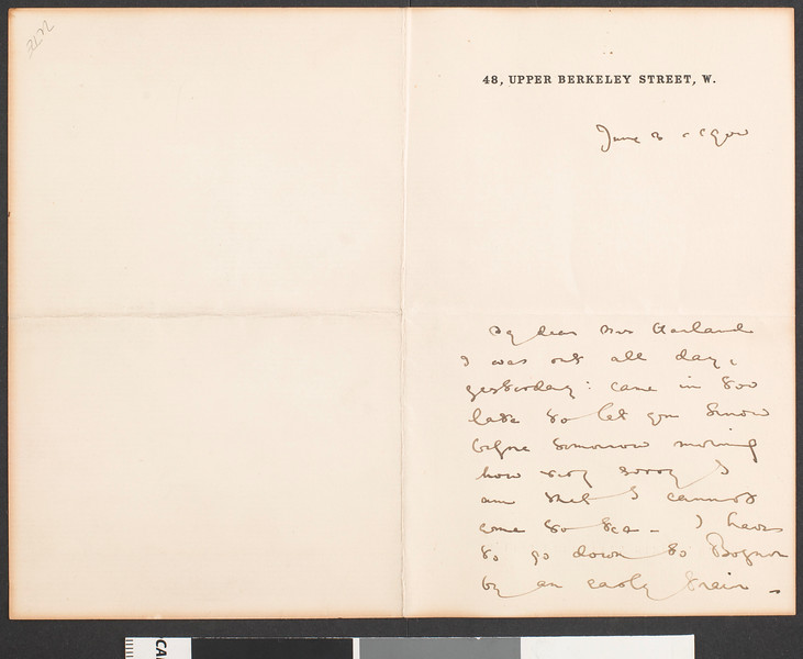 Max Beerbohm, letter, 1900 June 3, London, England, to Mrs. Henry Harland, London, England
