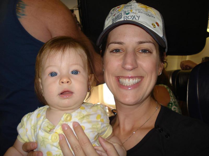 Julie & Kali on the plane