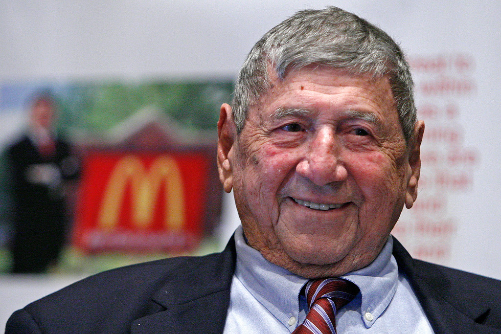 ". FILE - In this Aug. 21, 2008, file photo, Big Mac creator Michael ""Jim\"" Delligatti attends his 90th birthday party in Canonsburg, Pa. Delligatti, the Pittsburgh-area McDonald\'s franchisee who created the Big Mac in 1967, has died. He was 98. (AP Photo/Gene J. Puskar, File)"