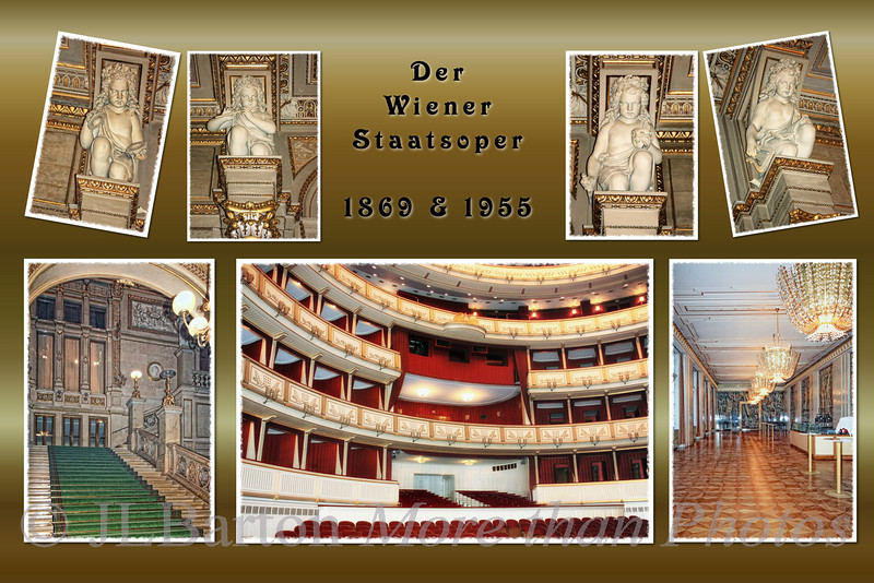 """The Opera A collage of shots taken on Thursday.  The State Opera house was opened in 1869, built in a style called 'romantic historicism' - very ornate.  Unfortunately it was bombed in March 1945 and everything except the front entrance hallways and rooms was rubble - and was rebuilt after the war, re-opening in 1955.  So the auditorium and intermission room are from that period.  Right below the """"royal box"""" are the best 'seats' in the house, i.e. the standing room.  As a young penniless student I used to buy standing room tickets - even standing the five hours (plus waiting time) for some of Wagner's operas.  couldn't do that today."""