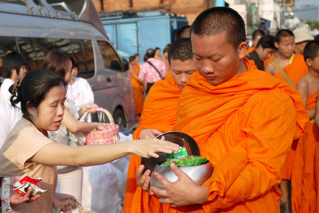 Monk alms during Songkran