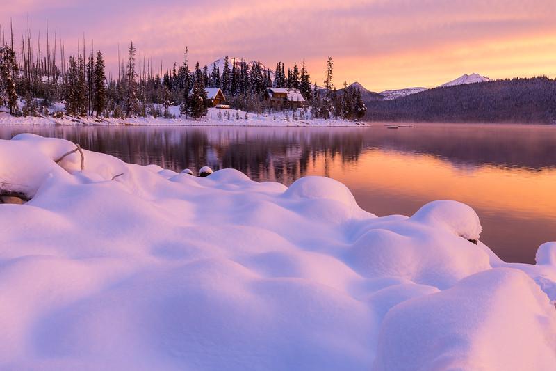 Snowy Cabin Sunrise