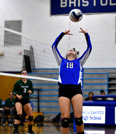 10/2/2019 Mike Orazzi | Staff Bristol Eastern's Leah Chipman (18) during a win over Maloney on Wednesday.