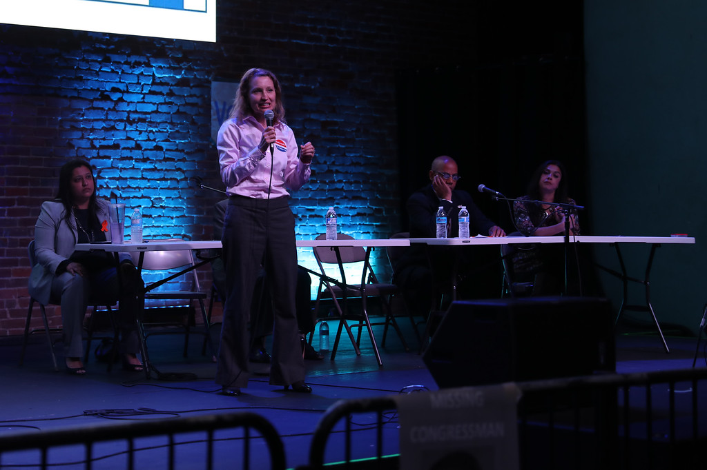 . Jessica Holcombe speaks during the Town Hall for our Lives meeting, April 7, 2018, in Chico, California. (Carin Dorghalli -- Enterprise-Record)