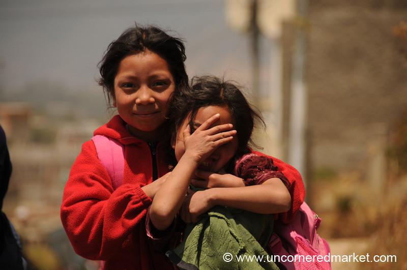 Playful and Shy Guatemalan Girls - Totonicapan, Guatemala
