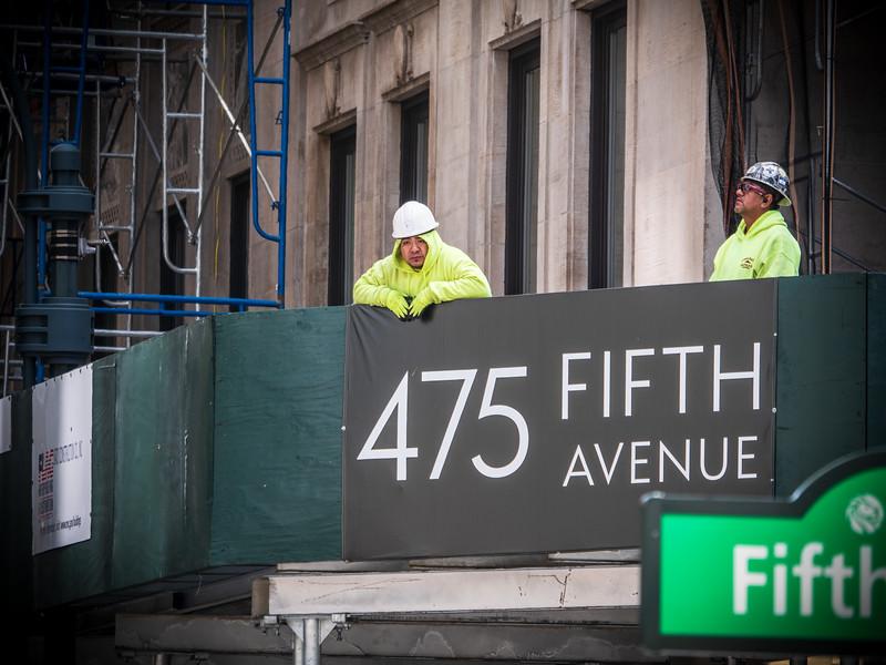 Taking a break on Fifth Avenue