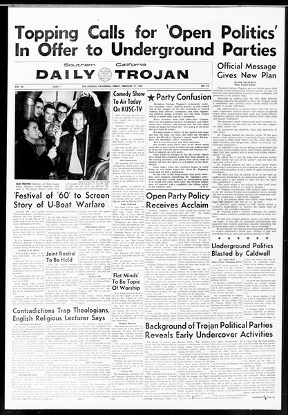 Daily Trojan, Vol. 52, No. 73, February 17, 1961